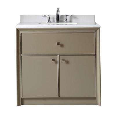 Parrish 36 in. W x 22 in. D Bath Vanity in Mushroom with Marble Top in Yves White