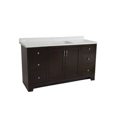 Ready to Assemble 48 in. x 21 in. x 33-1/2 in. 2-Door 4-Drawer Vanity with Solid White Cultured Marble Vanity Top