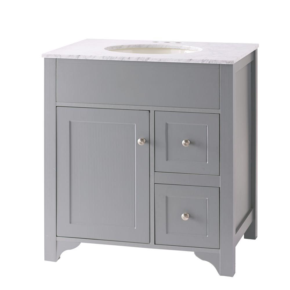Hillsbury 30 In. Vanity In Cool Gray With Marble Vanity Top In Carrara  White-D12330-1271W - The Home Depot
