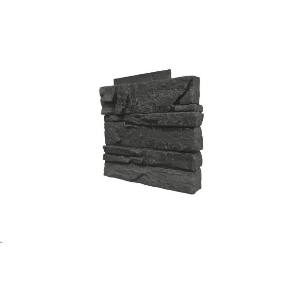 Stacked Stone Iron Ore 12 in. x 1.375 in. x 12 in. Faux Stone Siding Right Corner Panel