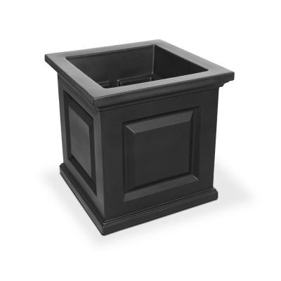Self-Watering Nantucket 16 in. Square Black Plastic Planter