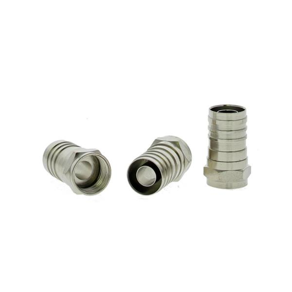 10 Pack F-pin Male Quad and Dual Shield Compatible ACL RG6 F-pin Compression Connector