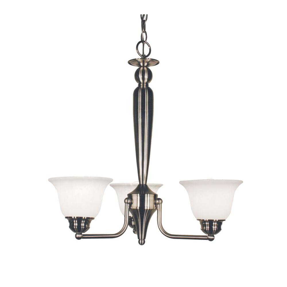 Tulen Lawrence 3-Light Brushed Nickel Incandescent Ceiling Chandelier