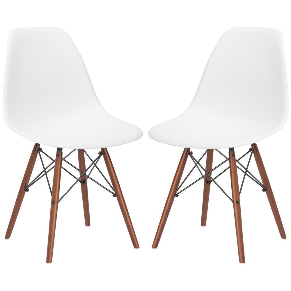 Vortex White Side Chair Walnut Legs (Set of 2)