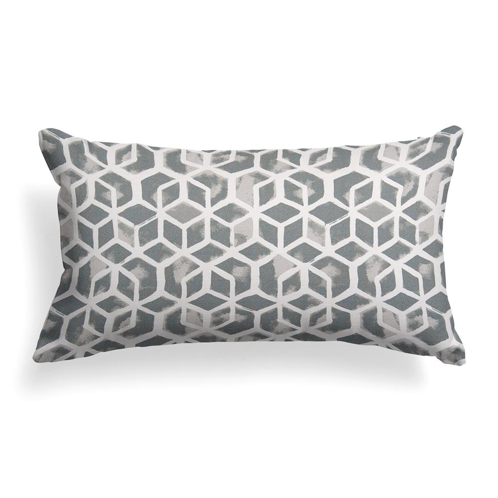 Grouchy Goose Grey Cubed Outdoor Lumbar Throw Pillow 01281 The