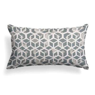 Grey Cubed Outdoor Lumbar Throw Pillow
