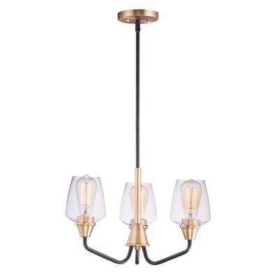 Goblet 19 in. W 3-Light Bronze/Antique Brass Chandelier with Clear Shade
