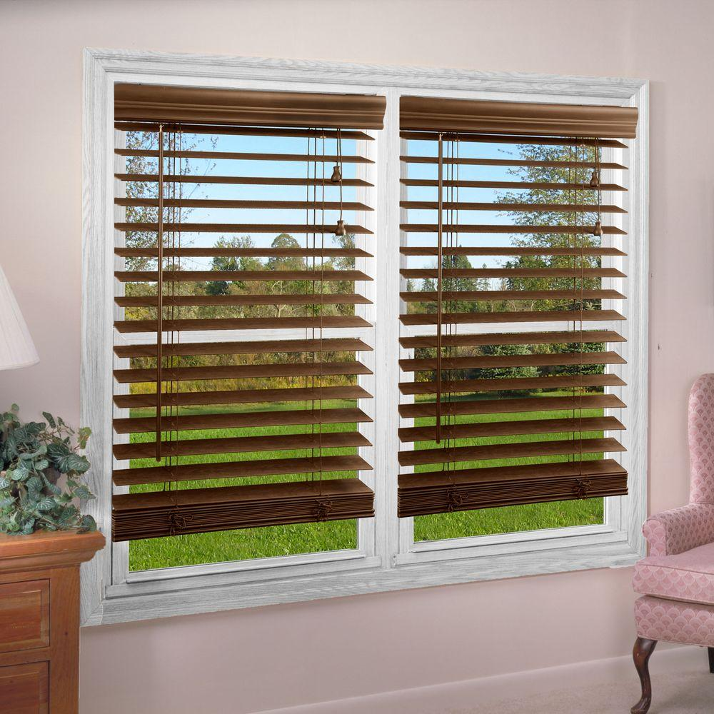 Perfect Lift Window Treatment Dark Oak 2 in. Textured Faux Wood Blind - 36 in. W x 84 in. L