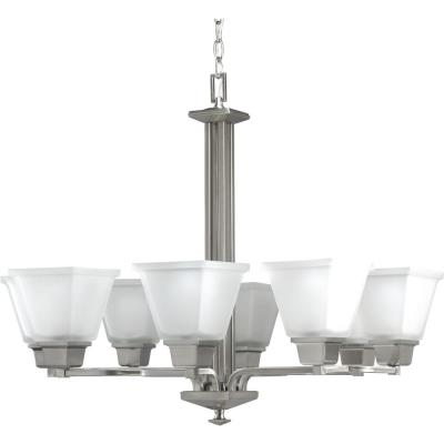North Park 8-Light Brushed Nickel Chandelier with Etched Glass Shade