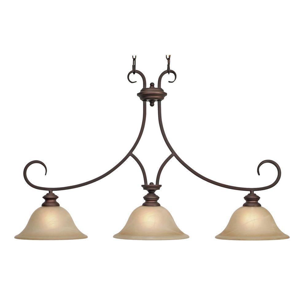 Golden Lighting Lancaster Collection 3-Light Bronze Island Pendant