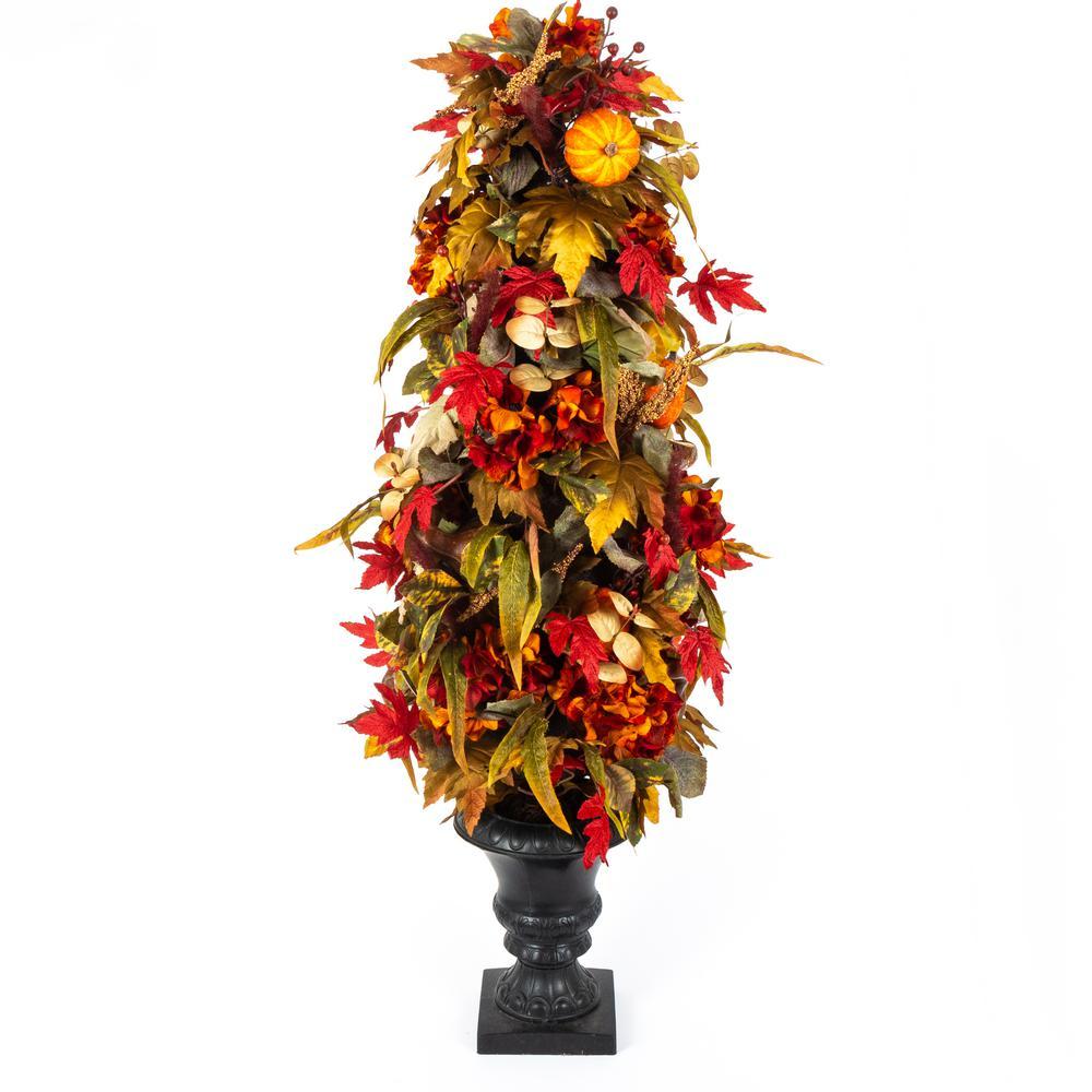 48 in. Hydrangea, Pumpkin and Maple Leaf Porch Tree