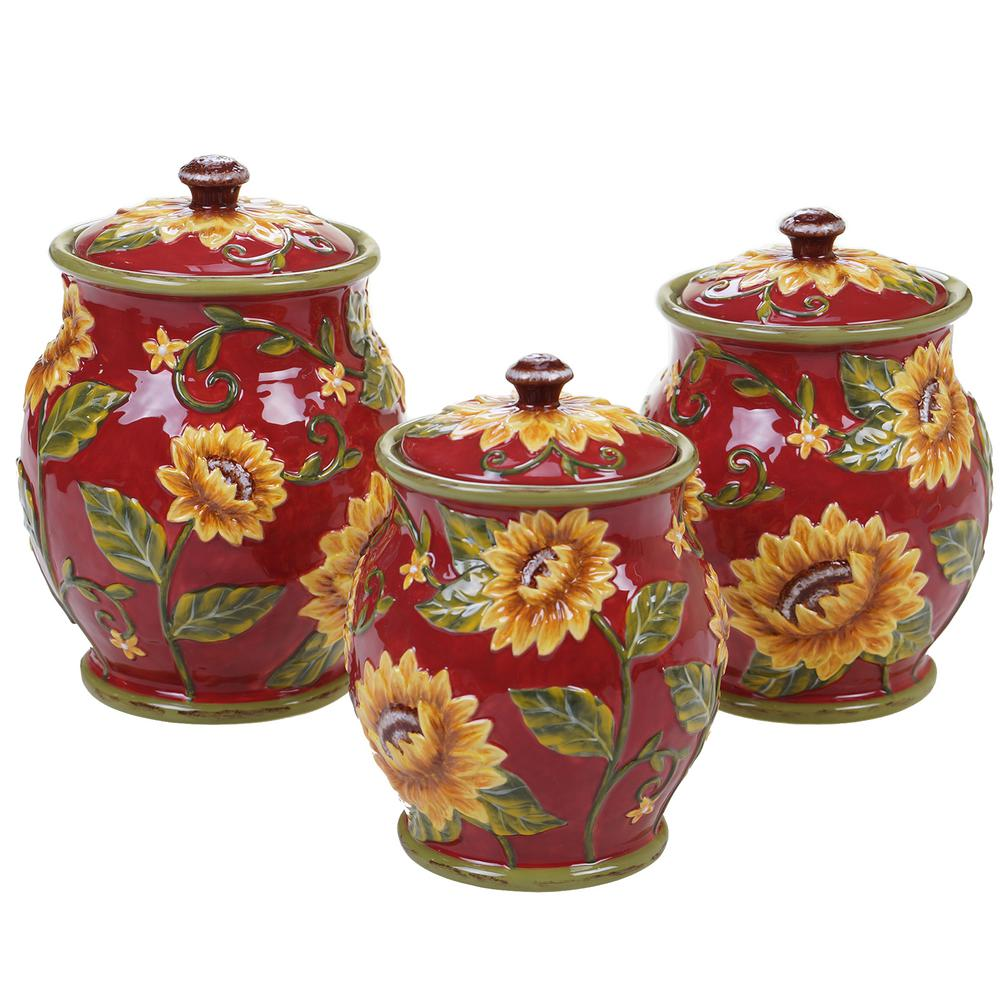 Sunset Sunflower 3-Piece Ceramic Canister Set