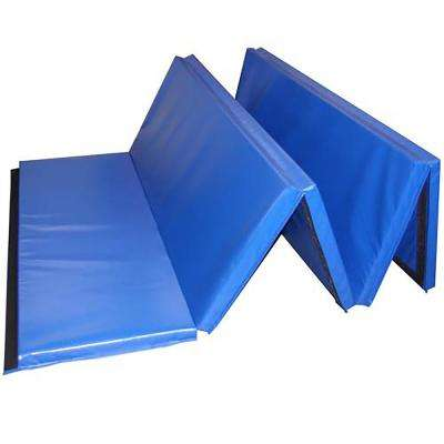Folding 5 ft. x 10 ft. x 2 in. Blue 18 oz. Vinyl and Foam Gymnastics Mat