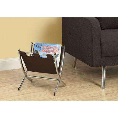 Leather-Look/Chrome Metal Magazine Rack in Dark Brown