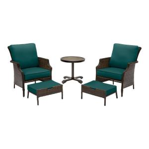 Grayson 5-Piece Brown Wicker Outdoor Patio Small Space Seating Set with CushionGuard Malachite Green Cushions
