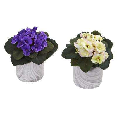 Indoor African Violet Artificial Plant in Marble Vase (Set of 2)