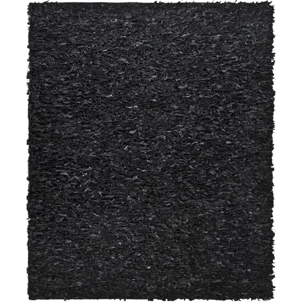 Safavieh Leather Shag Black 8 Ft. X 10 Ft. Area Rug