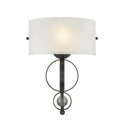 Cerchi 1-Light Rubbed Bronze Wall Sconce with Etched Opal Glass