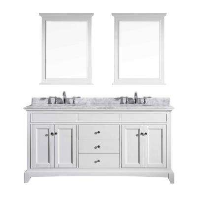 Elite Stamford 72 in. W x 23.5 in. D x 36 in. H Vanity in White with Carrera Marble Top in White with White Basin