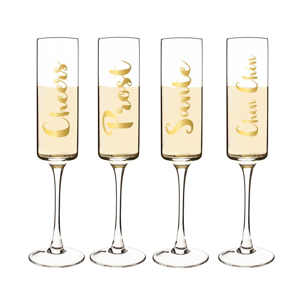 cheers 8 oz glass champagne flutes in gold gch 3668 the home depot