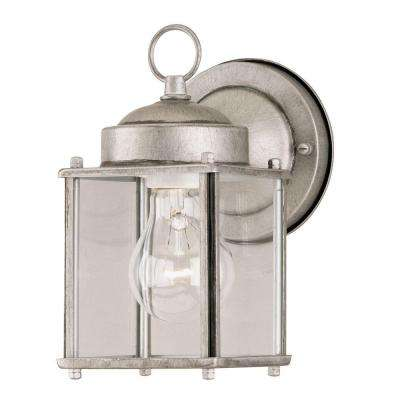 1-Light Antique Silver Steel Exterior Wall Lantern with Clear Glass Panels