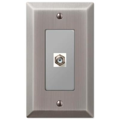 Metallic 1 Gang Coax Steel Wall Plate - Antique Nickel