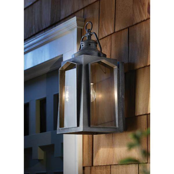 Home Decorators Collection 1 Light Charred Iron Outdoor Wall Lantern Sconce Hd 1509 The Home Depot