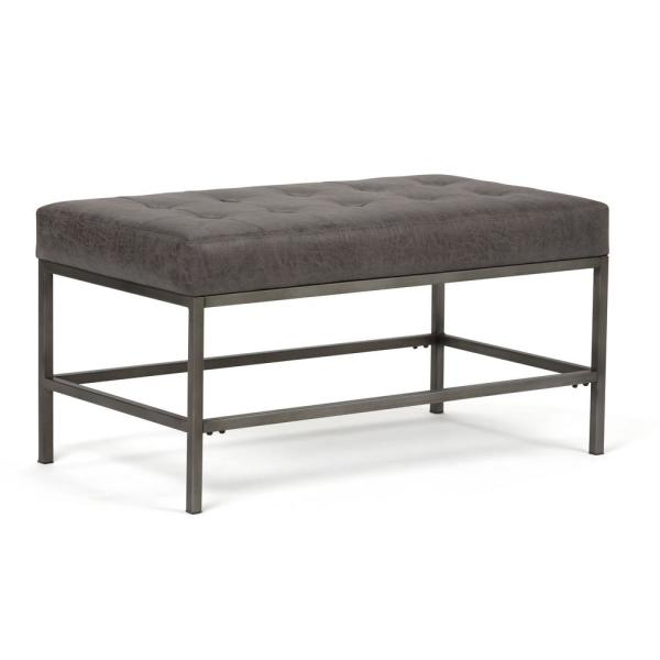 Simpli Home Beckett 36 in. Contemporary Ottoman Bench in Distressed Black