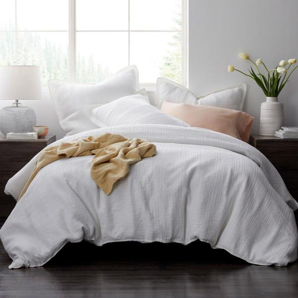 The Company Store Interwoven Cotton King Duvet Cover in White 50331D-K-WHITE