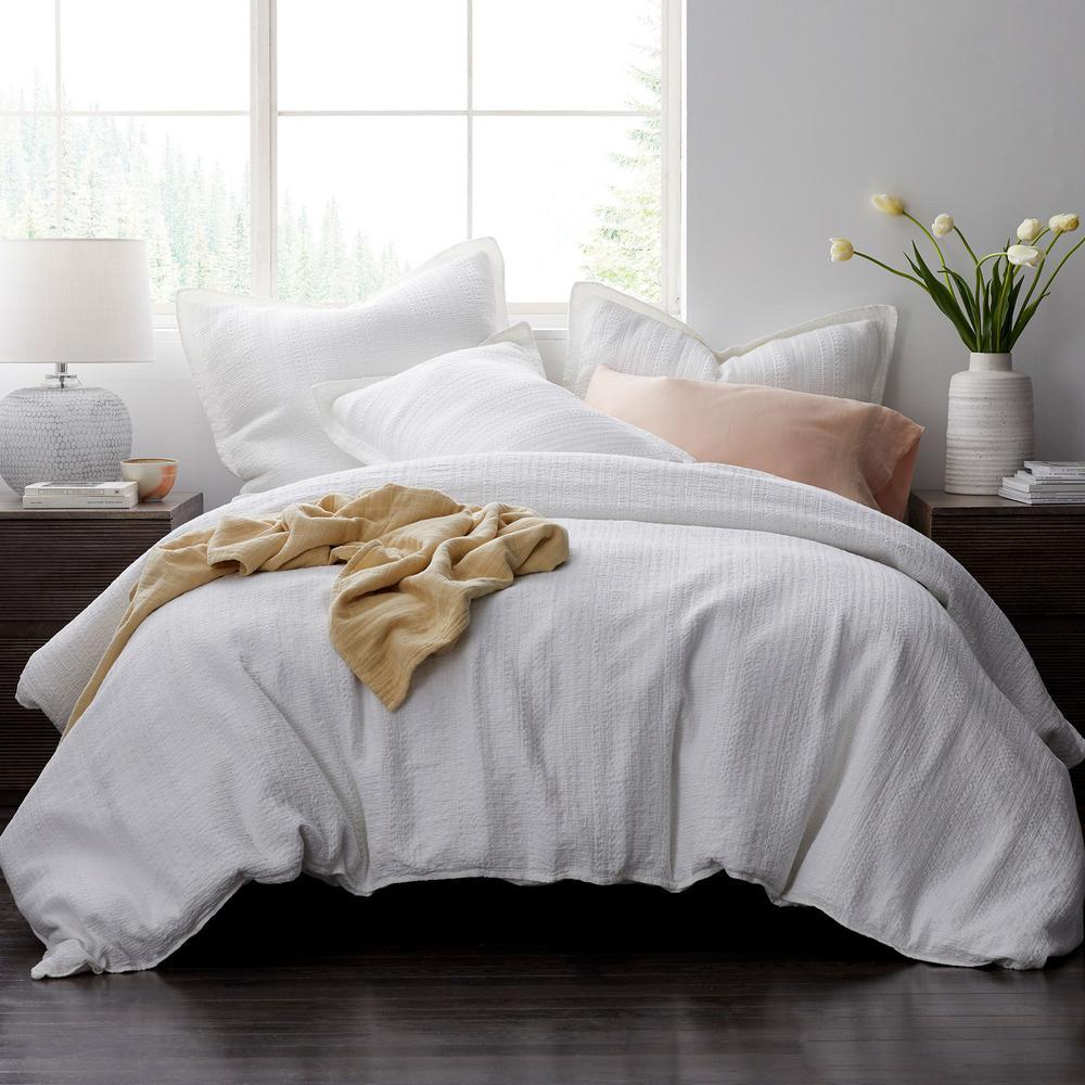 The Company Store Interwoven Cotton Queen Duvet Cover in White 50331D-Q-WHITE