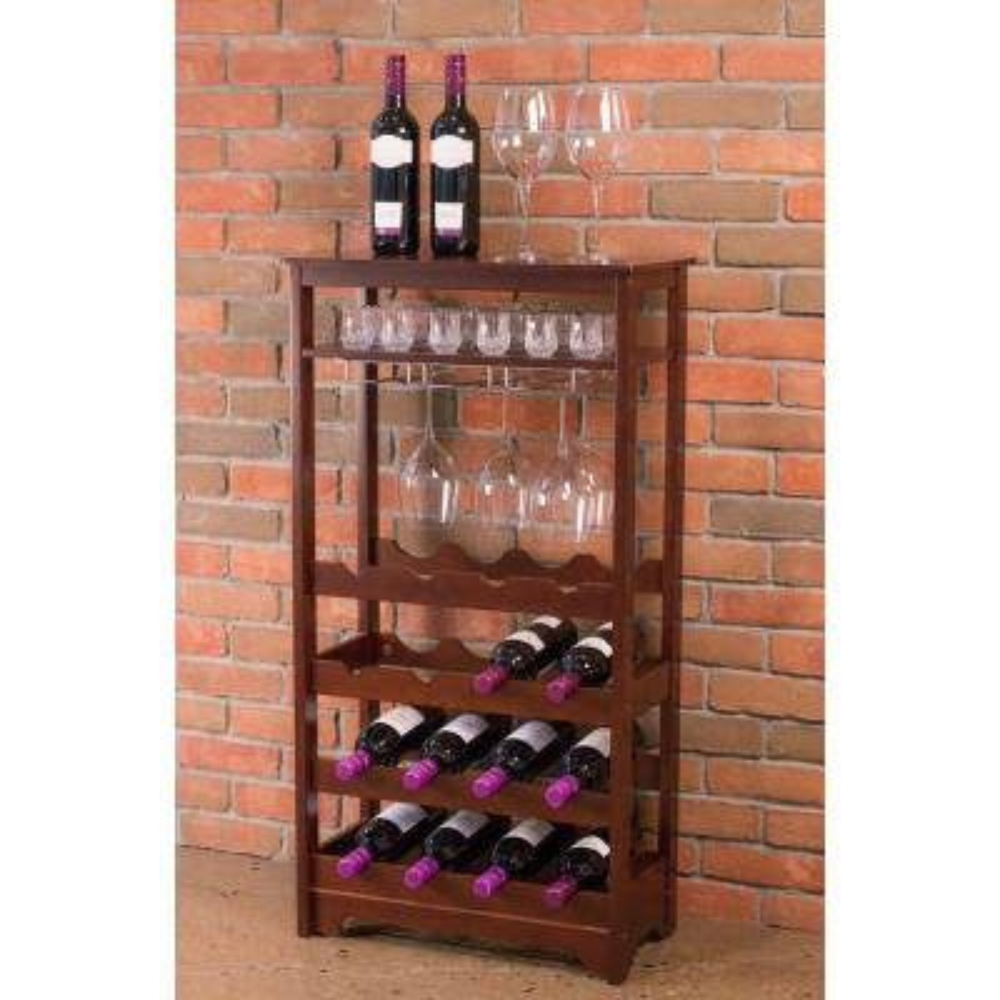 16-Bottle Espresso MDF Wine Rack