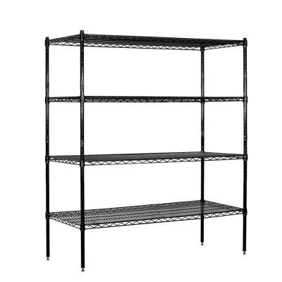 60 in. W x 63 in. H x 18 in. D Galvanized Wire Stationary Wire Shelving in Black