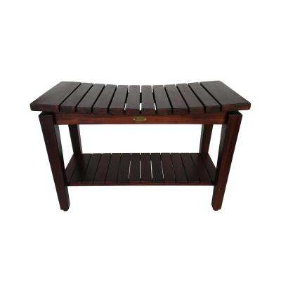 Sojourn 30 in. Contemporary Teak Eastern Style Shower Bench with Shelf