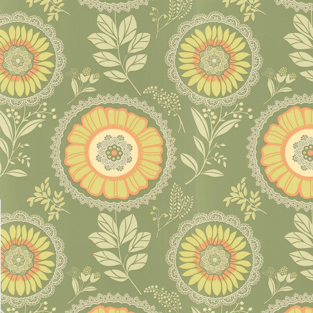 Graham & Brown 56 sq. ft. Lacework Green Wallpaper-DISCONTINUED