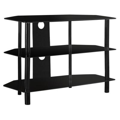 Black Glass / Black Metal TV Stand