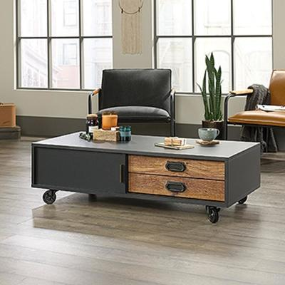 Boulevard 47 in. Black Large Rectangle Composite Coffee Table with Drawers