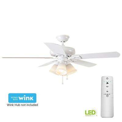 Lyndhurst 52 in. LED Matte White Smart Ceiling Fan with Light Kit and WINK Remote Control