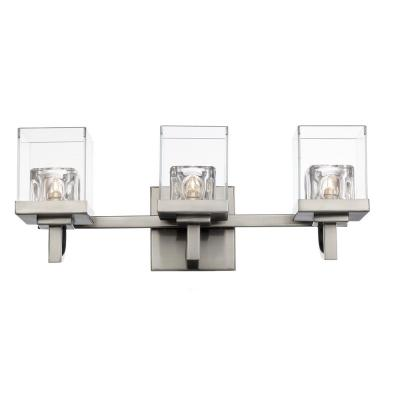 5.25 in. 3-Light Brushed Nickel Vanity Light with Clear and Crystal Shade