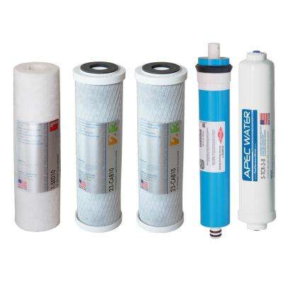 "ULTIMATE High Flow Complete Replacement Filter Set for 90 GPD Reverse Osmosis System with Upgraded 3/8"" Quick Dispense"