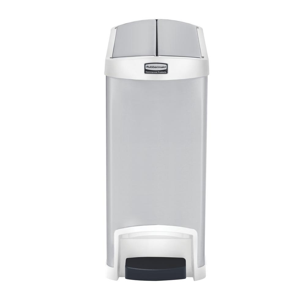 rubbermaid commercial products slim jim stepon 8 gal white stainless steel end step