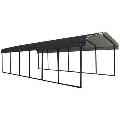 12 ft. W x 29 ft. D Charcoal Galvanized Steel Carport, Car Canopy and Shelter