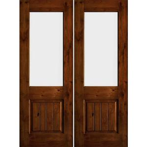64 in. x 80 in. Rustic Knotty Alder Wood Clear Half-Lite Red Chestnut Stain/VG Right Active Double Prehung Front Door