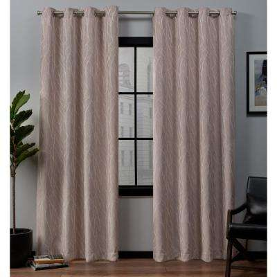 Forest Hill 52 in. W x 84 in. L Woven Blackout Grommet Top Curtain Panel in Rose Blush (2 Panels)