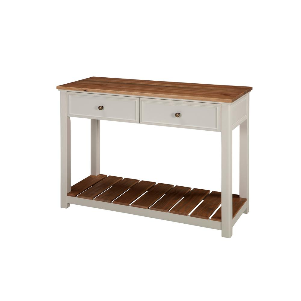 Alaterre Furniture Savannah Ivory With Natural Wood Top 40 In Wide 2 Drawer Console