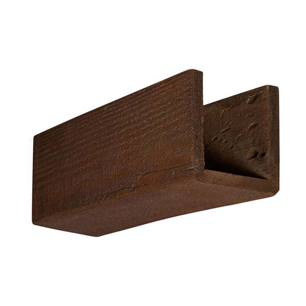 6 in. x 6 in. x 12 in. 3 Sided (U-Beam) Rough Sawn Pecan Endurathane Faux Wood Ceiling Beam Premium Sample