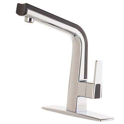 Matisse Single-Handle Standard Kitchen Faucet in Chrome and Black