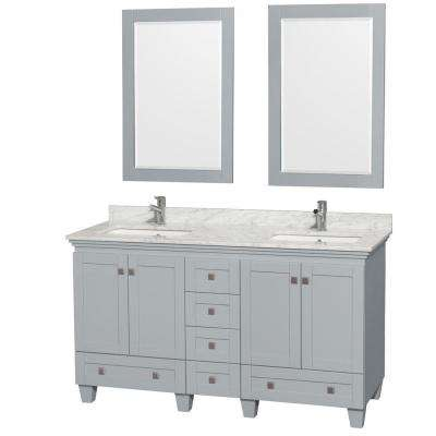 Acclaim 60 in. W x 22 in. D Vanity in Oyster Gray with Marble Vanity Top in Carrera White with White Basins and Mirrors