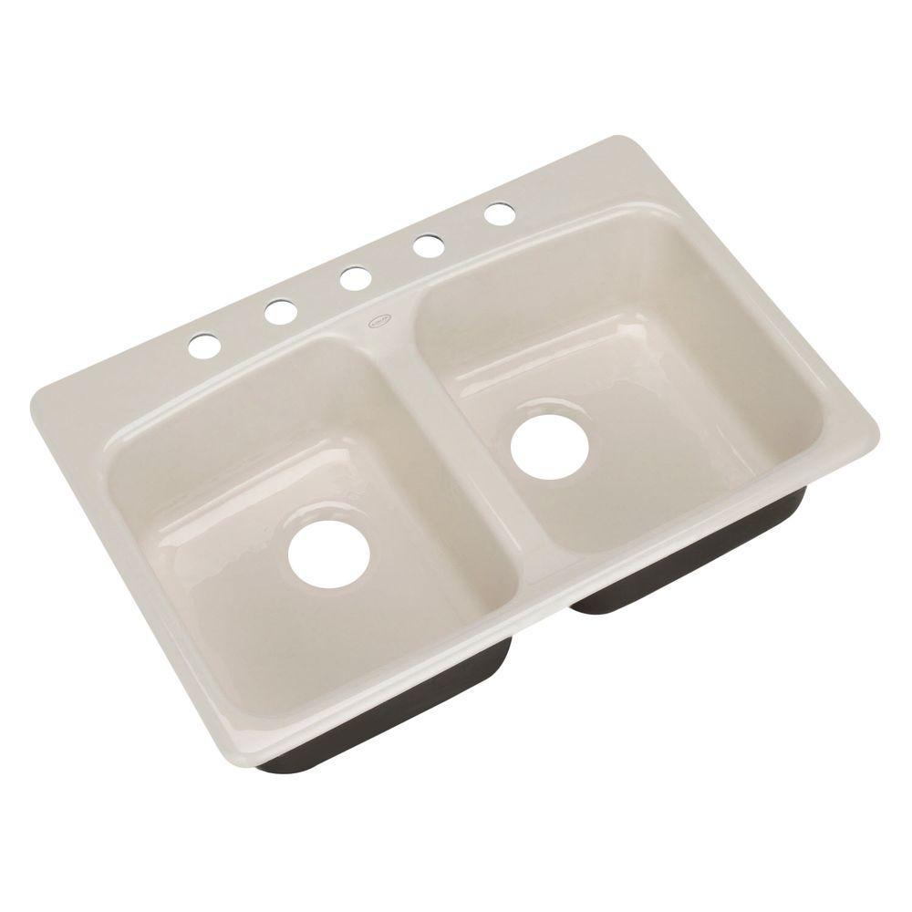 KOHLER Brookfield Self-Rimming Cast Iron 33x22x8.625 5-Hole Kitchen Sink in Biscuit-DISCONTINUED