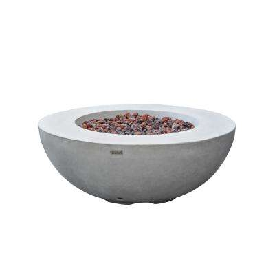 Lunar Bowl 42 in. x 16 in. Round Concrete Natural Gas Fire Bowl Table in Light Gray
