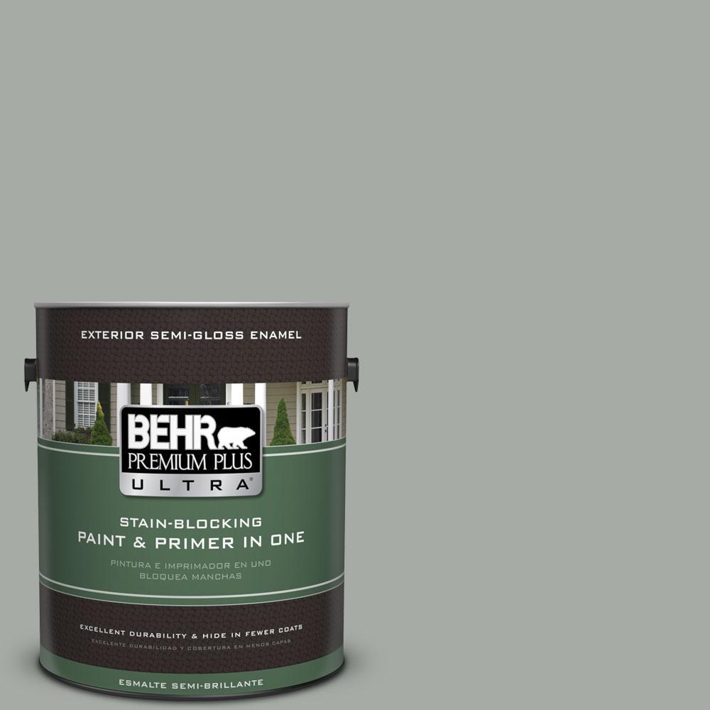 BEHR Premium Plus Ultra 1-gal. #ECC-35-1 Silver Clouds Semi-Gloss Enamel Exterior Paint